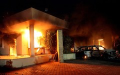 U.S. embassy in Benghazi on fire