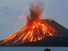 An erupting volcano, taken from volcano heaven