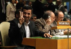 Iran's President Mahmoud Ahmadinejad gestures as he attends the UN General Assembly