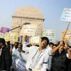 "Youth protesting at ""India gate"" in Delhi on Saturday, against the rape and torture"