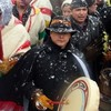 National Chief of the Assembly of First Nations Shawn Atleo (C) drums during a protest on Parliament